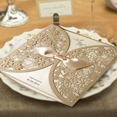 Lézervágott meghívó 1198 - bézs - Lézervágott esküvői meghívó - Esküvői meghívók - Webáruház - Esküvői meghívó készítés