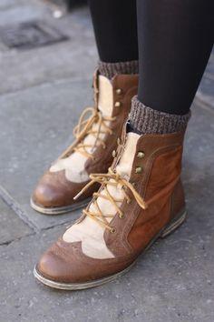 Oxford boots, socks, skinnies. Fall style.