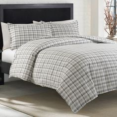 The Beacon Hill duvet set features a classic shirting plaid in tones of chrome Gray and Dark slate on white. The detailed print on and comfortable .