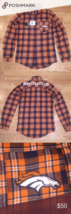 NWT Denver Broncos button down flannel NWT Size S Denver Broncos button down flannel. This specific shirt is all embroidered and sewn patches. I ended up with 2, not realizing I already have one. NFL Tops Button Down Shirts