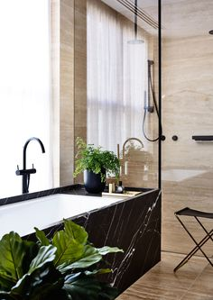 Black marble bath and green plants perfect bathroom combination