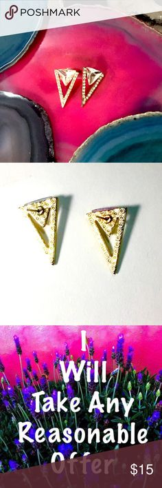 Gold triangle fashion Earrings Gold triangle fashion earrings.  Worn twice.  I bought these at a really cool boutique inSan Antonio, but both times I wore them my girlfriends asked if they were designer!  One asked if I spent over $200 on them!  (NOPE!).  Can be worn pointing down or even sideways going up your ear love! In Excellent used condition, and I even took 40% off!  (Like all my items, that must go, I'm taking best offers so don't be shy!!) Jewelry Earrings
