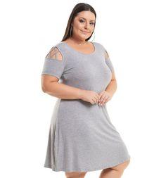 Vestido Viscolycra Cinza com Transpasse de Tiras Miss Masy Plus Size  #modaplussize #roupasplussize #roupasfemininas #modafeminina #plussize #beline