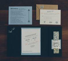 Gorgeous invites, Pocket Invitations with wood grain invites.