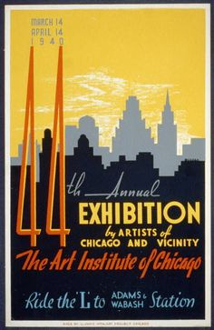 free printable, printable, art, exhibition, vintage, vintage posters, graphic design, free download, retro prints, classic posters, wpa, federal art project, 44th Annual Exhibition by Artists of Chicago and Vicinity, Art Institute of Chicago - Vintage Art Poster