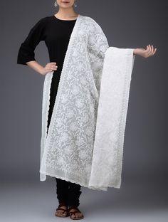 Buy White Chikankari Embroidered Cotton Dupatta Dupattas Online at Jaypore.com