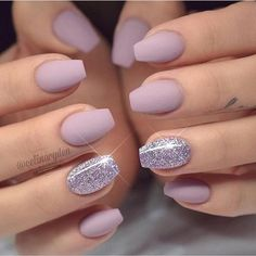 Two Colored Nail Designs Picture 54 stunning two tone nails designs you would love to try Two Colored Nail Designs. Here is Two Colored Nail Designs Picture for you. Two Colored Nail Designs two colors nail design nails design with rhinesto. Cute Acrylic Nails, Cute Nails, My Nails, Hair And Nails, Glitter Nails, Lilac Nails With Glitter, Lilac Nails Design, Matte Purple Nails, Matte Gel Nails