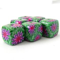 6 Square Handmade Polymer Clay Beads  Green Purple by LavaGifts, $12.00