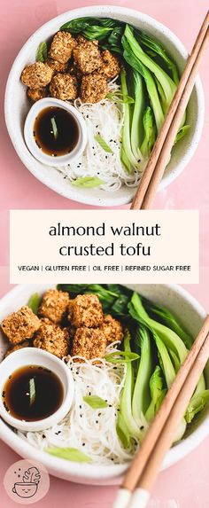 Crispy, crunchy, almond walnut crusted tofu you can make in the oven or airfryer! It's a great, high protein recipe that can be served atop noodles, salad, in nourish bowls or tossed in sauce and twice baked. Vegan, gluten free, refined sugar free, oil free, keto friendly, low carb. #vegan #glutenfree #refinedsugarfree #oilfreevegan #wfpbno #tofurecipes #veganketo #lowcarbvegan #paleovegan #keto #tofurecipes #highproteinvegan #dairyfree #vegetarian #meatlessmeals #highprotein #wfpb Tofu Recipes, Clean Recipes, Vegetarian Recipes, Healthy Recipes, Gluten Free Soy Sauce, Vegan Gluten Free, Veggie Food, A Food, Roasted Walnuts