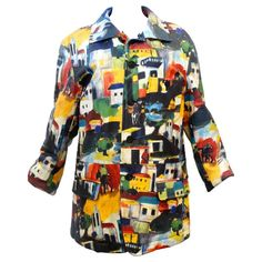 1992 Issey Miyake hand-painted leather jacket. From a collection of rare vintage jackets at https://www.1stdibs.com/fashion/clothing/jackets/