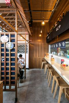 Hakoya Ramen, Melbourne. Spotted Gum timber supplied by Timber Revival. Design and Construction: SALT Design and Construction. Image: copyright SALT Design and Construction. #restaurant #fitout #timbermelbourne #hospitalitydesign