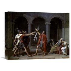 Global Gallery 'Oath of the Horatii' by Jacques-Louis David Painting Print on Wrapped Canvas Size: