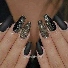 Black & gold coffin matte nails