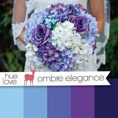 Blue and Purple Ombre Wedding Bouquet - Woodlands Bride: