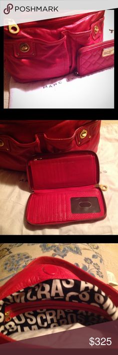 Marc by Marc Jacobs Combo💕 Stunning Marc by Marc Jacobs Beautiful Red Handbag with matching wallet ♥️ this is a stunning combo!. A large open compartments and inside are two multipurpose open pockets. Large zip compartment on front of handbag.  Can be carried as a handbag or sling it over your shoulder!  Excellent condition!!! Marc by Marc Jacobs Bags Shoulder Bags