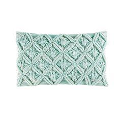 Kissen aus Baumwolle mit Makramee, blau, 30x50 | Maisons du Monde