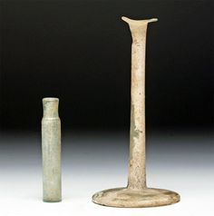 Pair Roman Glass Vessels - Unguent + Vial