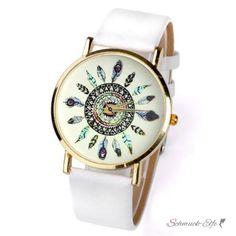 Damen Armbanduhr vintage Feder  Gelbgold PU Leder weiß