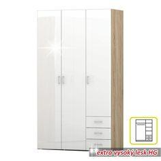 3-ajtós szekrény, sonoma tölgyfa/fehér extra magas fényű HG, GWEN 70427