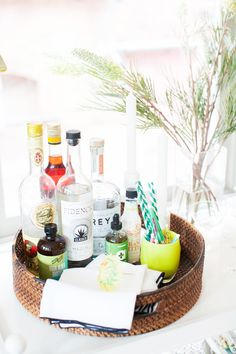 A bright and fully-stocked home bar
