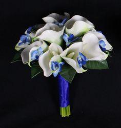 Blue Calla Lilies Bridal Bouquet