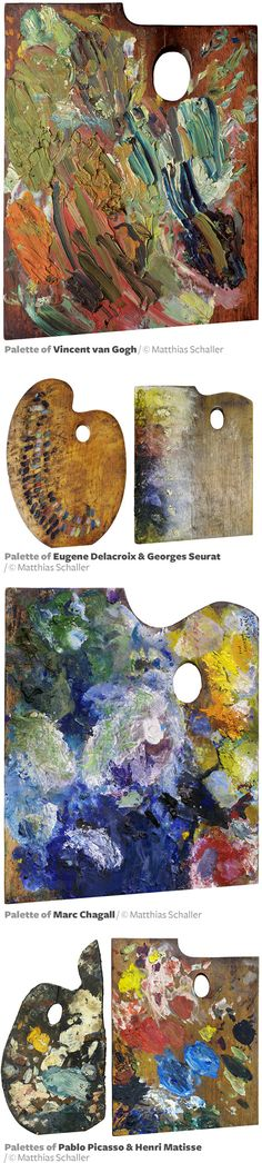 Photographic Portraits of Famous Artist's Paint Palettes by Matthias Schaller http://www.thisiscolossal.com/2015/05/paint-palette-portraits-matthias-schaller/