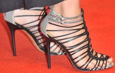 Sandra Bullock showed off her feet in gorgeous strappy sandals from Gwen Stefani's L.A.M.B.