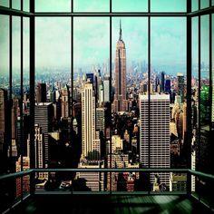 1 WAND RIESIGE FOTOTAPETE NEW YORK FENSTER LANDSCHAFT AUSSICHT NY WANDSTICKER