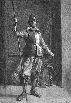 """French pikeman, circa 1635 - """"Pikemen's armour and pikes were sent to Quebec during the 1620s. The armour appears to have been worn by some soldiers until the later 1630s although the pikes were seemingly hardly ever used. In Europe, pikemen were still seen in battlefields in decreasing numbers until they vanished by the end of the century. In America, pikes or halberds might be used by a few ceremonial guards and sergeants but were otherwise not used."""""""