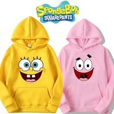 Buy Spongebob and Patrick Star Squarepants Printed Hoodies Cozy Tops Pullovers at Wish - Shopping Made Fun Bff Shirts, Couple Shirts, Best Friend Pullover, Best Friend Hoodies, Girls Fashion Clothes, Winter Fashion Outfits, Stylish Outfits, Jugend Mode Outfits, Stylish Hoodies