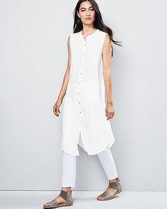 Eileen Fisher Organic Handkerchief-Linen Sleeveless Tunic