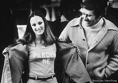 Patty Hearst, pictured in 1979 after her early release from Santa Rita Prison, displayed a t-shirt given to her by her future husband, Bernard Shaw. Chronicle Photo by  Gary Fong / SF