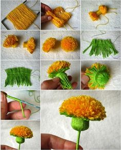 yarn pom pom flower this is a wonderful free idea and any crochet or knit fan will have everything you need already