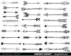 Arrows clip art, tribal arrow clipart, archery hand drawn arrows, doodle drawing tribal digital INS Art Clipart, Arrow Doodle, Arrow Drawing, Hand Drawn Arrows, Arrow Svg, Tribal Arrows, Poses References, Clip Art, Tattoo Ideas