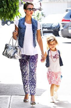 Jessica Alba and daughter Honor wearing matching denim vests