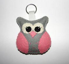 Wool Felt Gray Owl Keyholder Owl Keychain Felt Owl Keyring