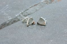 Sterling Silver Triangle Curled Stud Earrings