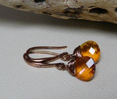 Min Favorit Summer Blush Swarovski Crystal & Antique Copper Wrap Earrings Sweet!  GLOW like the SUN!