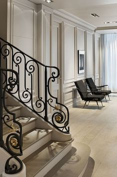 Home Interior Design Archives - Home Style Corner Classic Interior, Luxury Interior, Home Interior Design, Interior Architecture, Railing Design, Staircase Design, Spiral Staircase, Wrought Iron Stair Railing, Railings