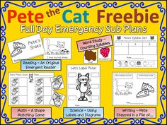 FREEBIE!!! A whole day of Pete the Cat for the sub tub!!! at Peace, Love and Learning