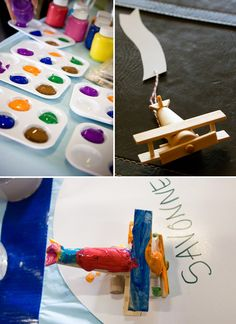 This party has so many great ideas.  I love idea of using the banner as a way to label who painted each plane.