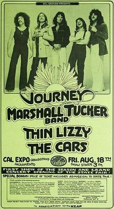 Journey - Marshall Tucker Band - Thin Lizzy - The Cars - 1978 - Concert Poster Bruce Dickinson, Concert Flyer, Concert Tickets, Tour Posters, Music Posters, Hard Rock, Death Metal, Journey Band, Rock Band Posters