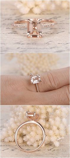 Rose Gold Morganite Engagement Ring / http://www.deerpearlflowers.com/emerald-cut-engagement-rings/2/