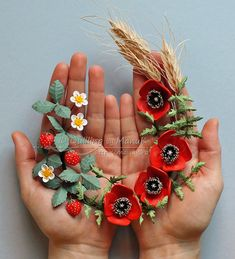 Quilled Poppies, Wheat and Strawberries - Summer in a Frame