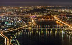 Download wallpapers Seoul, city lights, night, South Korea, bridge