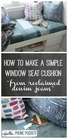 Our DIY window seat cushion can be no-sew! We made a patchwork, thrifted denim cover of old jeans. Even included a pocket for our teen daughter's phone! Decorating with denim jeans is great for teens. Easy Sewing Projects, Sewing Projects For Beginners, Diy Projects, Design Furniture, Diy Furniture, Handmade Home Decor, Diy Home Decor, Room Decor, Window Seat Cushions