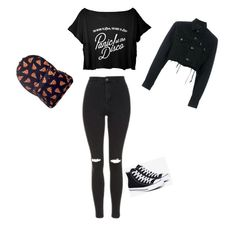 """""""black and orange"""" by caitlincatastrophe95 ❤ liked on Polyvore featuring Topshop, Converse and Blackyoto"""