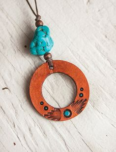Leather and turquoise pendant - Hand tooled leather, wooden beads and stabilized turquoise - OOAK - ready to ship