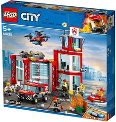 Shop for LEGO® City Fire Station Building Set -- 60215 and our wide selection of other Building Sets at Stoneberry. Lego City Police, Lego City Fire Station, Lego Station, Station Fire, Legos, Bateau Lego, Construction City, Lights And Sirens, Lego Fire