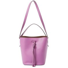 Furla Women's Vittoria S Bucket Bag - Purple ($245) ❤ liked on Polyvore featuring bags, handbags, shoulder bags, purple, leather handbags, drawstring bucket bags, white purse, purple leather purse and purple purse